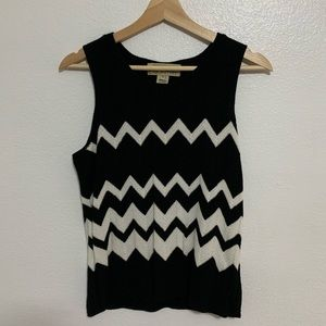 Chevron Knit Black and White Blouse Sleeveless
